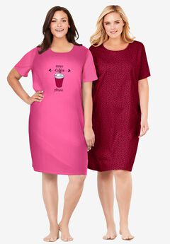 2-Pack Short-Sleeve Sleepshirt by Dreams & Co.®, POMEGRANATE COFFEE