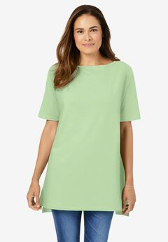 Perfect Short-Sleeve Boat-Neck Tunic,