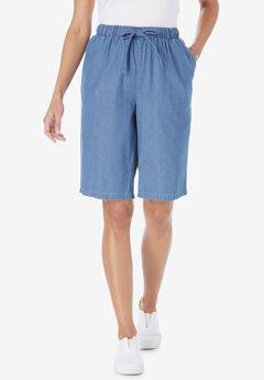 Chambray Drawstring Shorts,