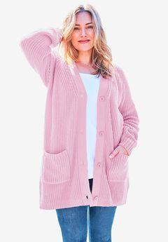 Long-Sleeve Shaker Cardigan Sweater,