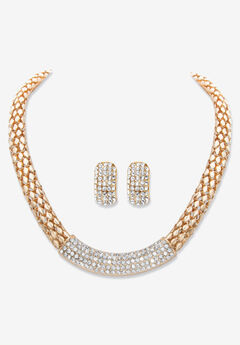 "Goldtone Crystal Earring and Choker Necklace Set, 17 - 20"","