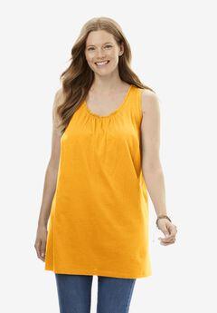 Perfect Shirred U-Neck Sleeveless Tunic,