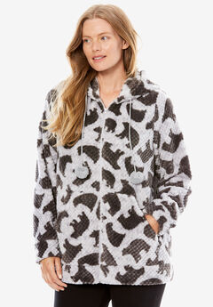 Plush Hooded Bed Jacket by Dreams & Co.®,