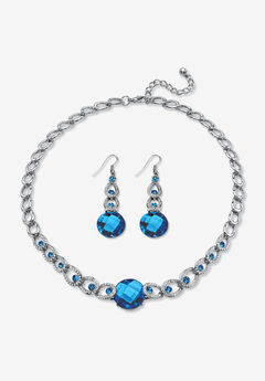 Silver Tone Collar Necklace and Earring Set, Simulated Birthstone,