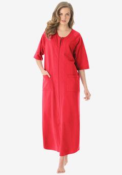 Long French Terry Robe by Dreams & Co.®, CORAL RED