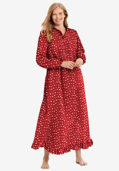 Long Flannel Nightgown by Only Necessities®, CLASSIC RED ROSE
