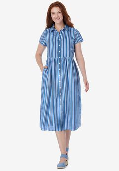 Striped Short-Sleeve Dress,