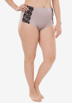 Amoureuse® Embroidered Hipster Panty, LIGHT TAUPE BLACK