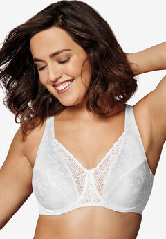 Floral signatures underwire bra by Playtex Secrets®, WHITE