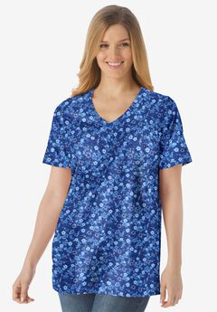 Perfect Printed Short-Sleeve V-Neck Tee,