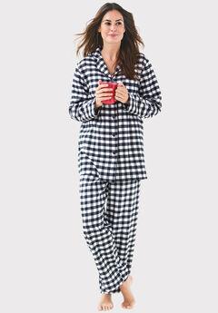 Classic Flannel Pajama Set , BLACK WHITE PLAID
