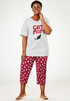 2-Piece Capri PJ Set by Dreams & Co®, POMEGRANATE CAT, hi-res