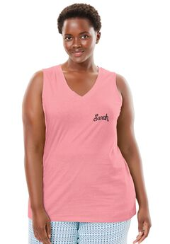 Personalized Cotton Sleep Tank by Dreams & Co.®, FLAMINGO PINK, hi-res