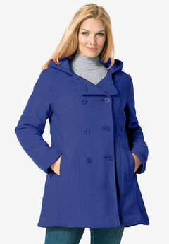 Double-Breasted Hooded Fleece Peacoat,