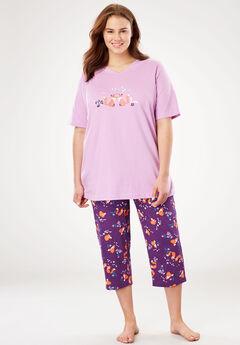 2-Piece Capri PJ Set by Dreams & Co®, RICH VIOLET FOX