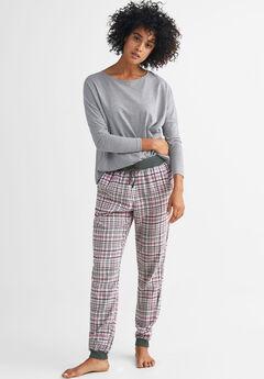 Plaid Flannel Sleep Pants by ellos®, BRIGHT TULIP GREY PLAID