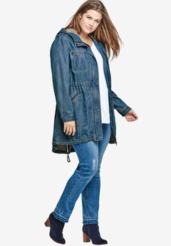 Hooded Anorak Denim Jacket by ellos®,