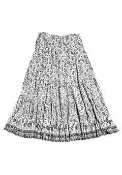 Printed Long Tiered Skirt by Ellos®, BLACK WHITE PRINT, hi-res