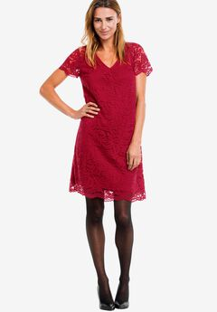 Grace Lace Shift Dress by Ellos®, CLASSIC RED, hi-res