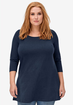 3/4 Sleeve Knit Tunic by ellos®, NAVY, hi-res