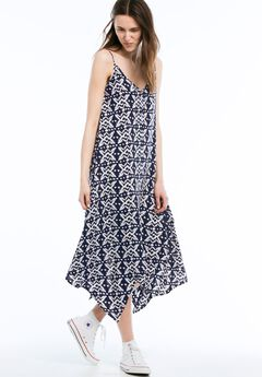 Printed Hanky Hem Dress by Ellos®, NAVY/WHITE PRINT, hi-res