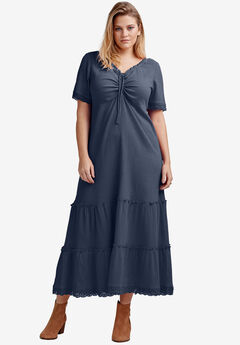 Gauze Maxi Dress by ellos®, NAVY