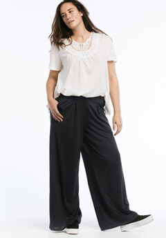 Pleated Wide Leg Knit Pants by ellos®,