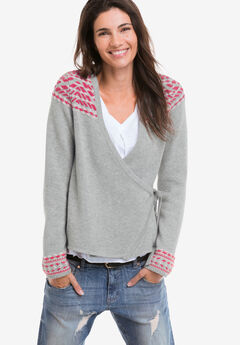 Embroidered Wrap Cardigan by ellos®,