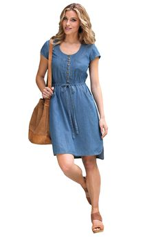 Denim Drawstring Dress by ellos®, LIGHT STONEWASH, hi-res