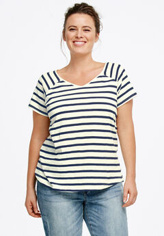 Rounded V-neck Tee,
