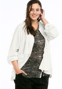 Zip Front Linen Blend Jacket by ellos®,