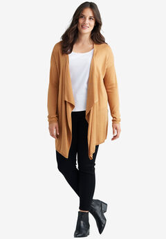 Draped Open Front Cardigan by ellos®, CLASSIC CAMEL, hi-res