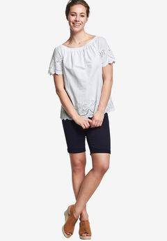 Smocked Neck Eyelet Blouse by ellos®, WHITE, hi-res
