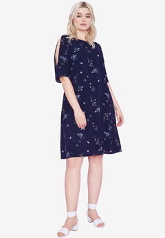 Cold-Shoulder Dress by ellos®, NAVY FLORAL PRINT, hi-res