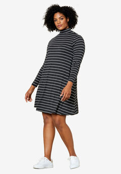 Mock Neck A-Line Dress by Ellos®, HEATHER CHARCOAL STRIPE, hi-res
