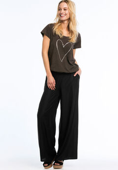 Wide Leg Soft Pants by ellos®, BLACK, hi-res