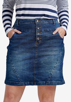 4-button Denim Skirt by ellos®,