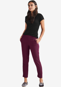 Cropped Straight Leg Pants by ellos®, MIDNIGHT BERRY, hi-res