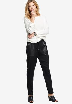 Satin Trim Soft Pants by ellos®, BLACK, hi-res