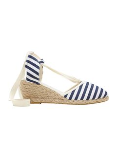 Lace-Up Espadrille Wedges by ellos®, NAVY NATURAL STRIPE, hi-res
