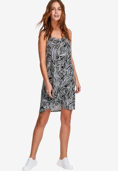 Crossover Tank Dress by ellos®, BLACK WHITE FERN PRINT, hi-res