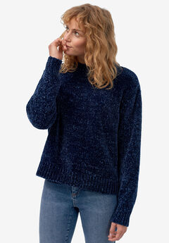 Boxy Chenille Pullover by ellos®, RICH NAVY