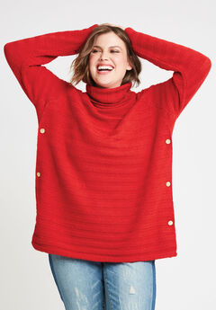 Side Button Turtleneck Sweater,