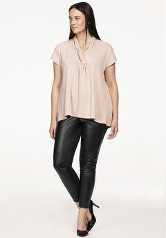 Faux Leather Front Ponte Leggings by ellos®, BLACK, hi-res