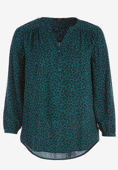 Notch Neck Henley Tunic by ellos®, EVERGREEN ANIMAL PRINT