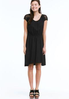 Lace Back Yoke Dress by ellos®, BLACK, hi-res