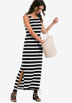 Newport Maxi Dress by Ellos®, BLACK WHITE STRIPE, hi-res