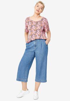 Wide-Leg Crop Jeans,