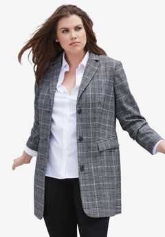 Long Wool Blend Blazer,