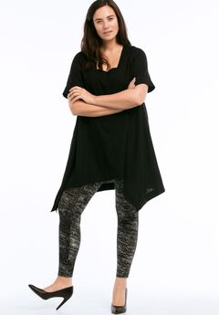 Linen-Blend Hanky Hem Tunic by ellos®, BLACK, hi-res